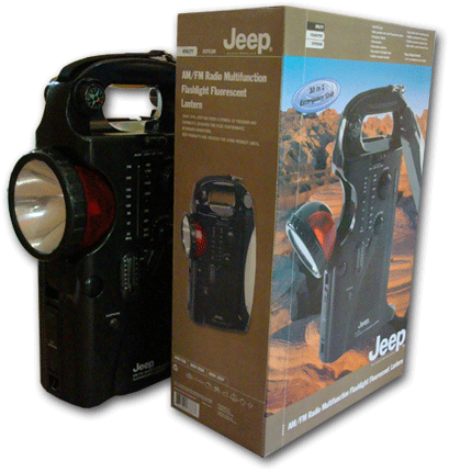 Jeep Flashlight, Radio and Lantern packaging