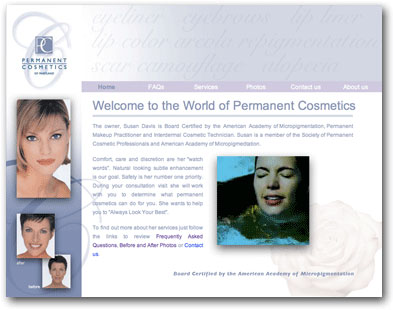 Permanent Cosmetics of Maryland Website